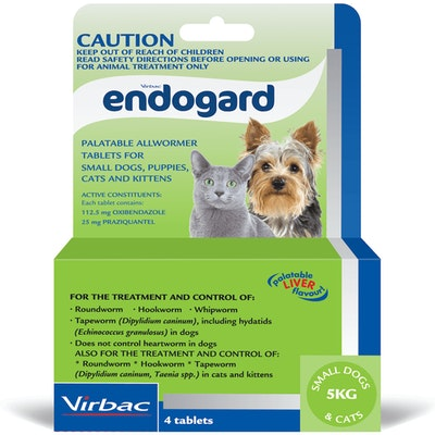 Virbac Endogard Broadspectrum All-Wormer Tablets for Small Dogs 5kg Puppies 4 Pack