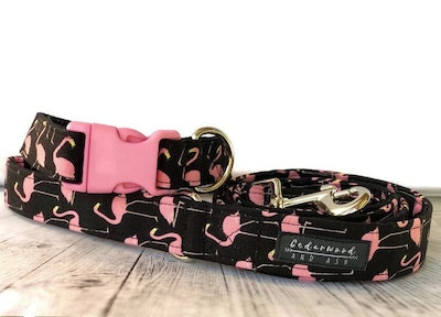 Cedarwood and Ash Pink Flamingo Handmade Thick Cotton Dog Collar and Leash Set (This listing is for a collar and leash SET a Dog Collar ONLY is available in a separate listing)