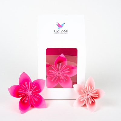 Origami World Origami Kusudama Flower DIY Kit in Display Gift Box –  Makes 12 Kusudama Japanese Flowers - Available in Pink, Blue, Purple, Yellow, Red