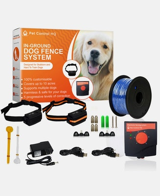Pet Control HQ Waterproof Rechargeable Electric Dog Fence with 2 Collars