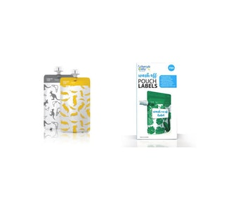 Food Pouch 120mL Mini's 10pk & Pouch Label Bundle - Kangaroo Grey & Cockatoo Yellow
