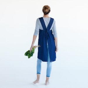 Apron Gardener Joy, 100% Organic Denim, with simple size adjustable tie at back