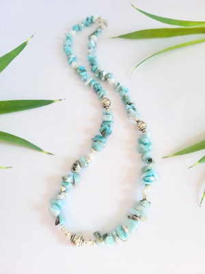 Uniqu-Lea Yours Gorgeous Larimar and Hill Tribe Silver Necklace