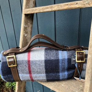 Recycled Wool Picnic Blanket with Waterproof Back + Leather Strap