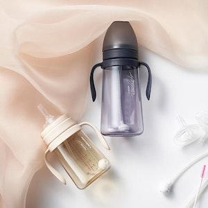 Mother-K Basic PPSU Weighted Straw Bottle 200mL (Navy/Cream)