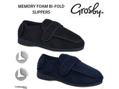 Boutique Medical GROSBY Bi-Fold Men's Slippers Scuffs Shoes Indoor Outdoor Memory Foam Moccasins