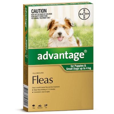 Advantage Small Dog 0-4kg Green Spot On Flea Treatment - 3 Sizes