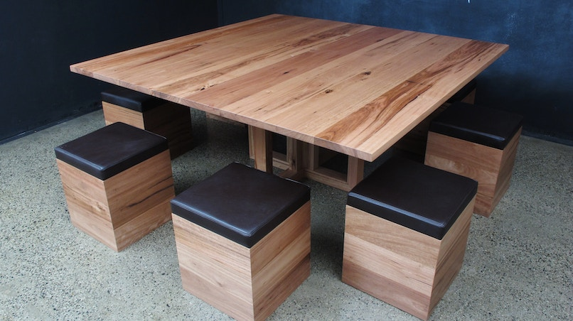 Christian Cole Furniture Wormy Chestnut Square Table