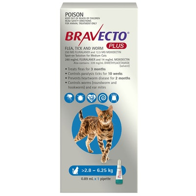 BRAVECTO Plus 3 Month Cat Spot On Tick & Flea Treatment 2.8-6.25kg Medium Blue