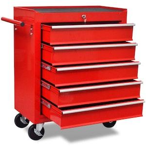 5-Drawer Red Workshop Tool Trolley