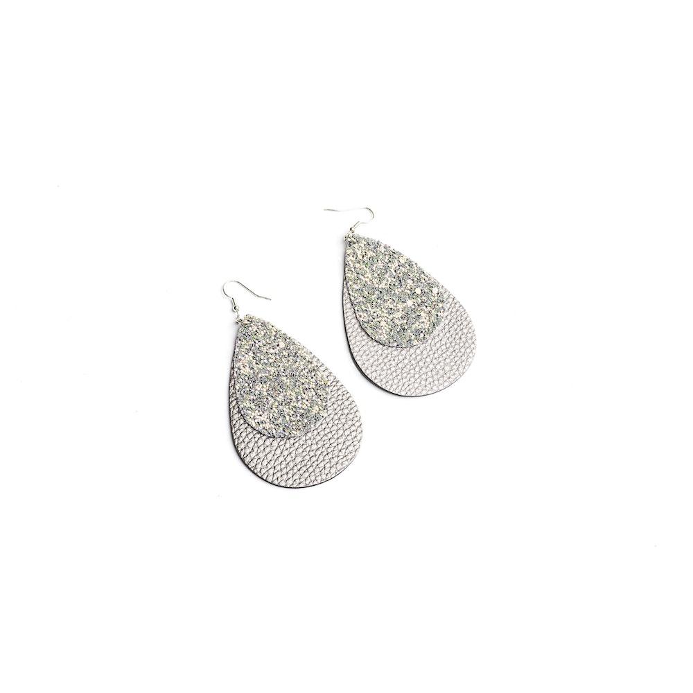One of a Kind Club Big Double Tear Shaped Grey Earrings