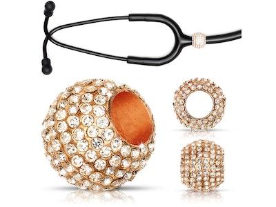 Björn Hall Stethoscope Charm Ring | Diamond Crush Crystal - Rose Gold