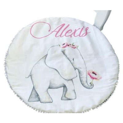 On Chic Baby Clothes Personalised Baby Playmats – Organic Jersey Cotton – Elephant