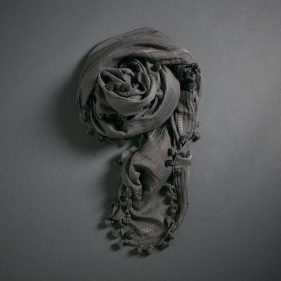 Global Sisters Shop Pompom Scarf - Charcoal