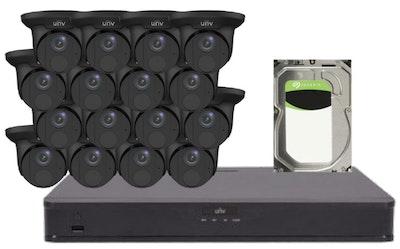 UNV Uniview UNV 5MP CCTV Kit 16 x Starlight turret cameras in black, 1 x NVR with 1 x 6TB hard drive