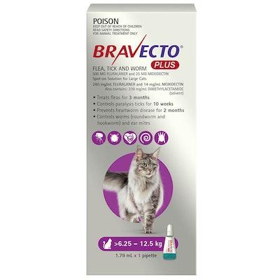 BRAVECTO Plus 3 Month Cat Spot On Tick & Flea Treatment 6.25-12.5kg Large Purple