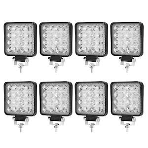 LIGHTFOX LIGHTFOX 8x 4inch 80w LED Work Lights Flood Driving Square Lamp Reverse Offroad 4WD