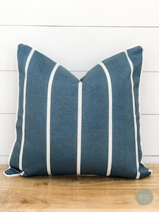 Outdoor Cushion Cover - Slate Stripe with white piping