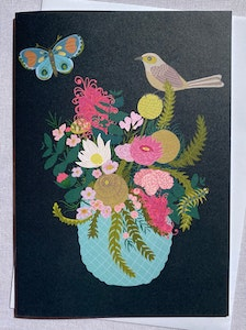 Holly & Bud Illustrated Australian native flowers with bird and butterfly blank greeting card