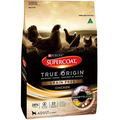 Supercoat True Origin Adult All Breeds Dry Dog Food Chicken 2.5kg