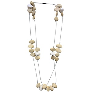 White Resin and Small Wood Oval Strand Cord Necklace