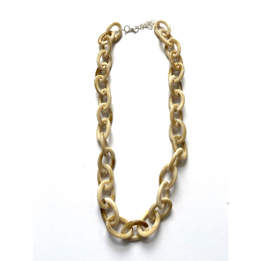 One of a Kind Club Cream And Caramel Acrylic Chain Necklace