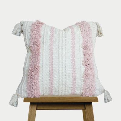 SATTVA WORLD Blush Pink Boho Cushion Cover With Tassels -