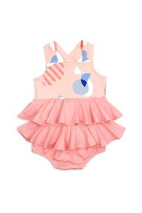 OETEO Australia EASYEO Panorama Imagery Flash Cross-back Ruffle Baby Dress