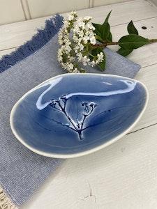 Elegant Medium Egg Shaped Dish - in Mountain Blue