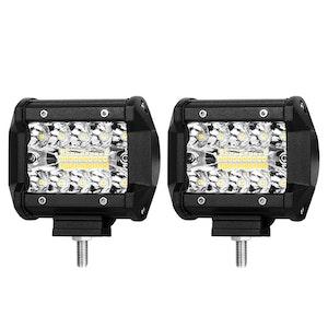 LIGHTFOX LIGHTFOX 2x 4inch CREE LED Light Bar SPOT FLOOD 3Row Work Fog Lamp Offroad 4x4