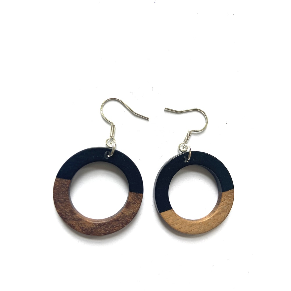 One of a Kind Club Black And Wood Circle Edge Earrings