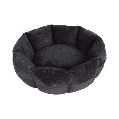 Charlie's Pet Faux Fur Calming Bed with Bolster Round Grey
