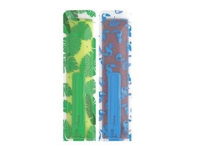 Reusable Freeze n Squeeze Ice Pop Pouches -Toucan Blue & Rainforest Green 20pk