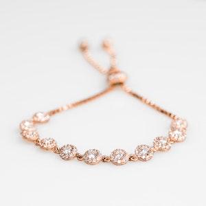 I Dream of Silver Rose Gold-Plated Flower Tennis Bracelet