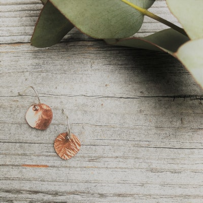 Sarah Munnings Jewellery Tiny Copper leaves - handforged earrings made in Melbourne