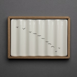 Soap Dish with Flock of Ibis