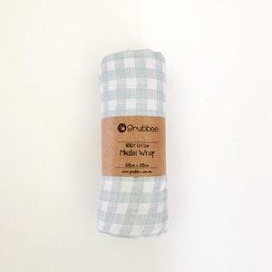 Grubbee Mint Gingham Muslin Wrap