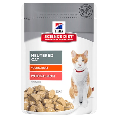 Hills Young Adult Neutered Cat Wet Cat Food Salmon 12 x 85g
