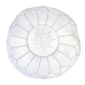 Moroccan Leather Ottoman/Pouffe Cover White