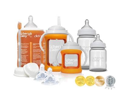 Glass Baby Bottles Starter Kit Bundle & Warmer - Orange
