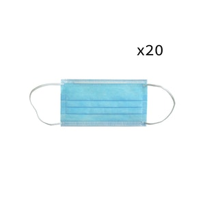WH Safe 3-Ply Non-Woven Disposable Face Masks - Pack of 20