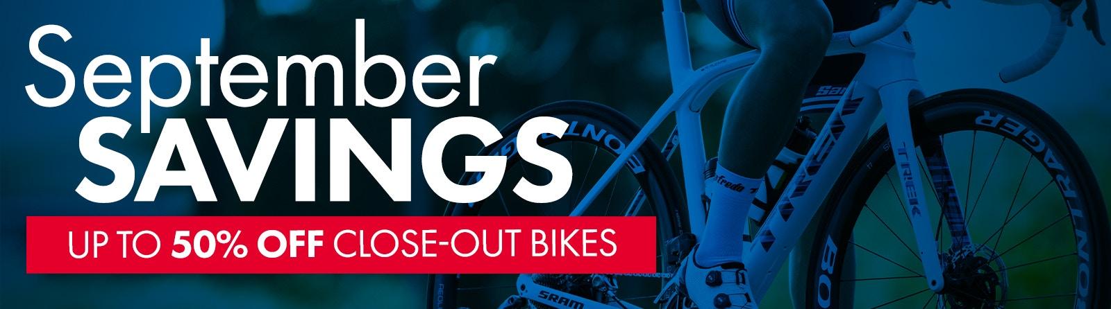 September Savings Tri Bike Run Up to 50% off bikes