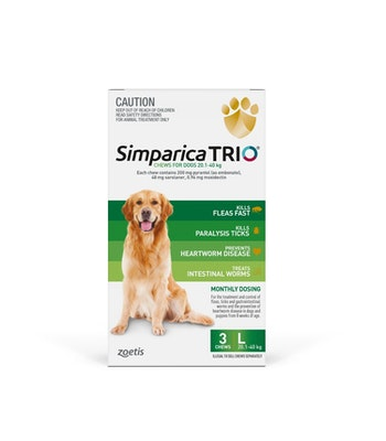 SIMPARICA TRIO Green Flea, Tick & Worm Chews 20.1-40kg