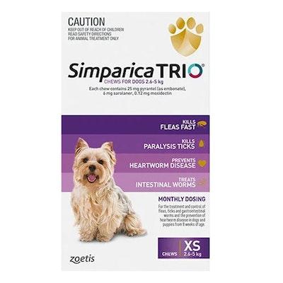 SIMPARICA Trio Flea & Tick Control for XS Dogs 2.6-5kg Purple 3 Pack