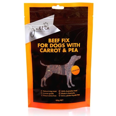 Jollie Gourmet Dog Treats Beef Fix for Dogs with Carrot & Pea 100g Pouch