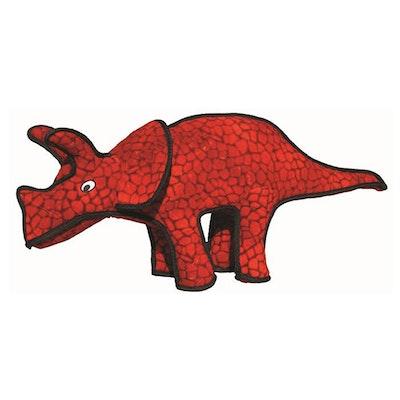 Tuffy Toys Tuffy Dinosaurs Triceratops Plush Dog Toy Red