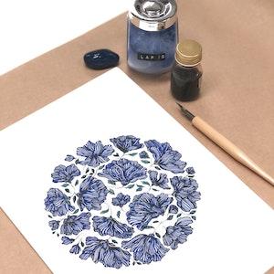 A4 Original Botanical Ink Drawing 'Heavenly Blue'