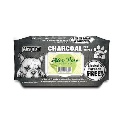 ABSORB PLUS Charcoal Pet Wipes Aloe Vera 80 Sheets 20X15Cm