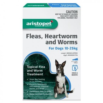 Aristopet Animal Health Fleas, Heartworm And Worms For Dogs 10-25Kg (6 packs)