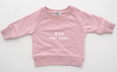 Personalised Name EST Sweater - Blush Pink